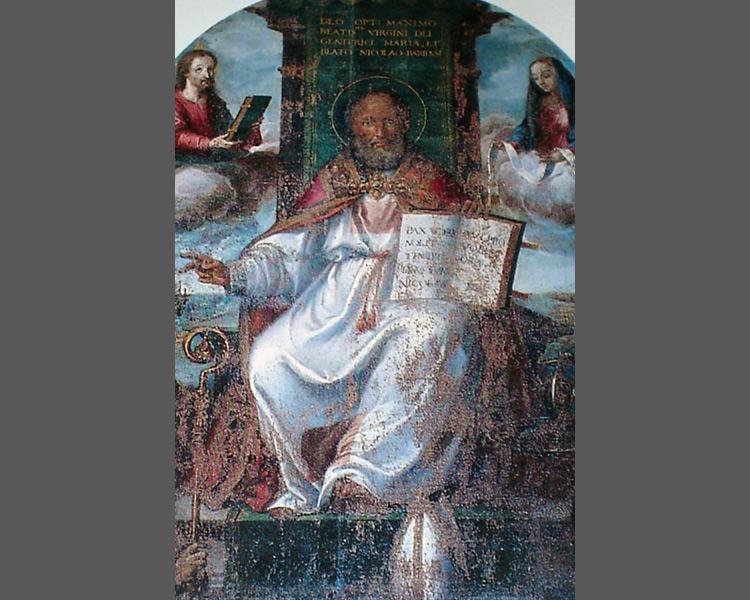 Gaspar Hovic, San Nicola in trono (1581; olio su tela; Corato, chiesa dei Cappuccini)