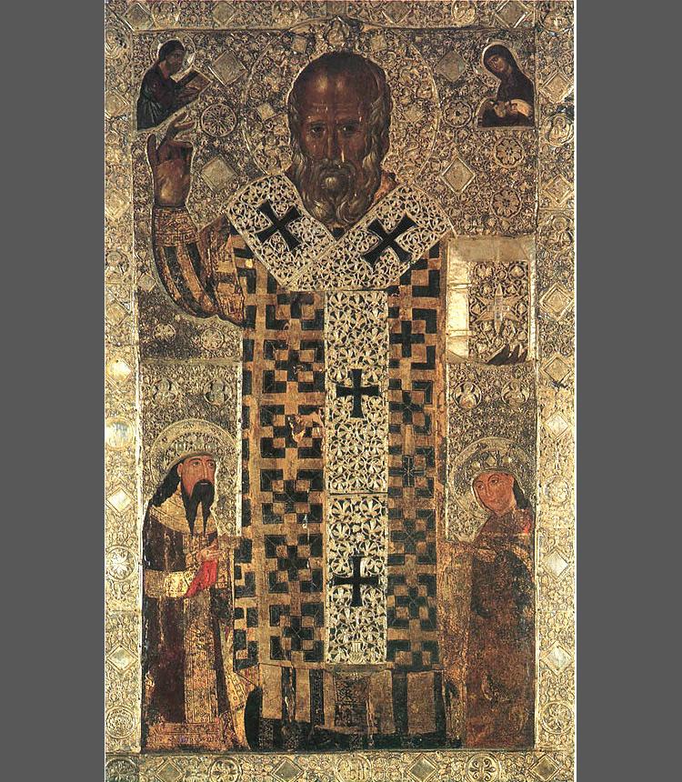 Icona serba di san Nicola coi ritratti dei donatori, re Uroš Milutin e Simonida (1319; Bari, Basilica di San Nicola, cripta)