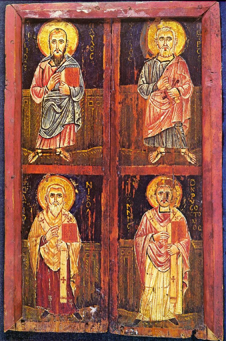 Icona coi santi Paolo, Pietro, Nicola e Giovanni Crisostomo (VII-VIII secolo; Sinai, Monastero di Santa Caterina d'Alessandria)