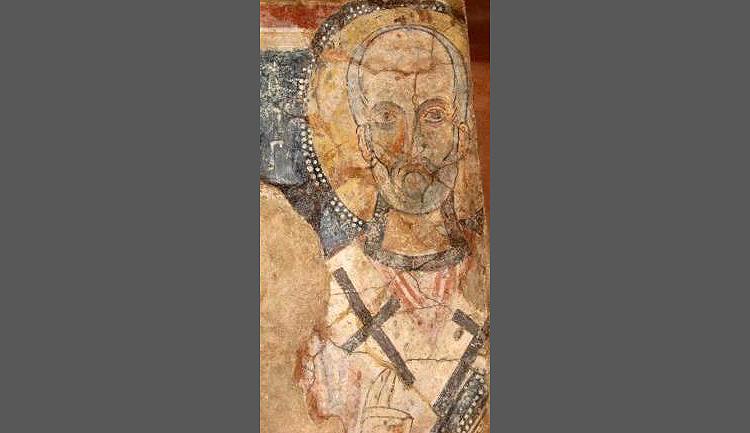 San Nicola, particolare (IX secolo; Poggiardo, chiesa rupestre di Santa Maria degli Angeli)