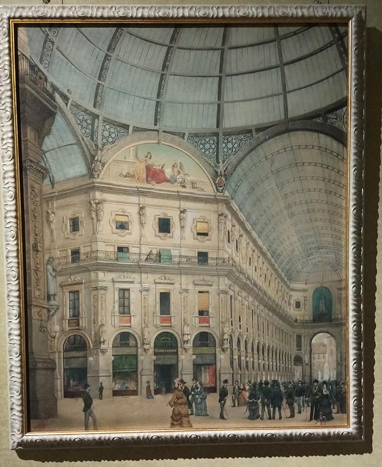 Angelo Morbelli, La Galleria Vittorio Emanuele in Milano (1872; acquerello su cartone, 84,50 x 68 cm; Monza, collezione Roberto Pancirolli)