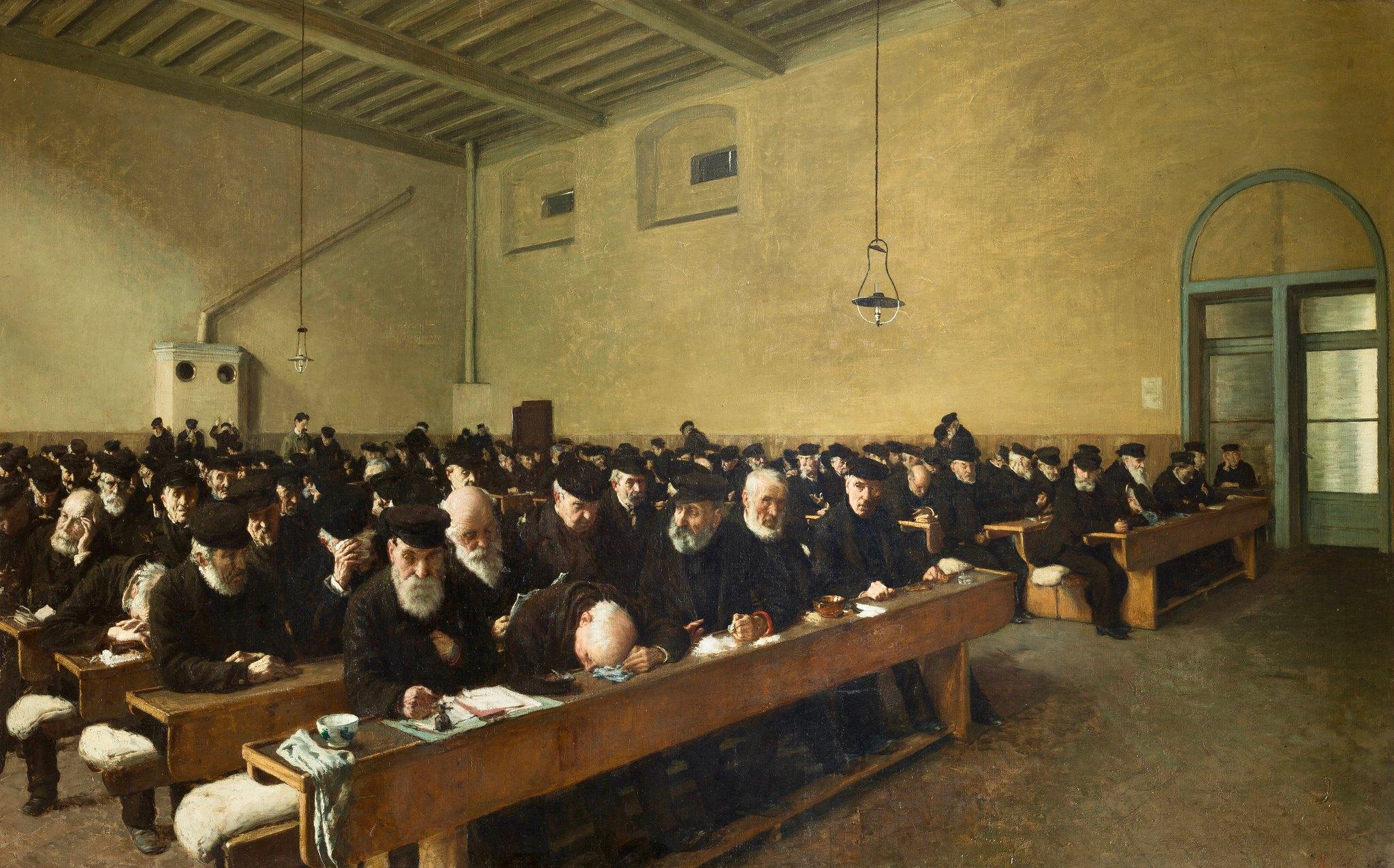 Angelo Morbelli, Giorni… ultimi (1882-1883; olio su tela, 98 x 157,5 cm; Milano, Galleria d'Arte Moderna)