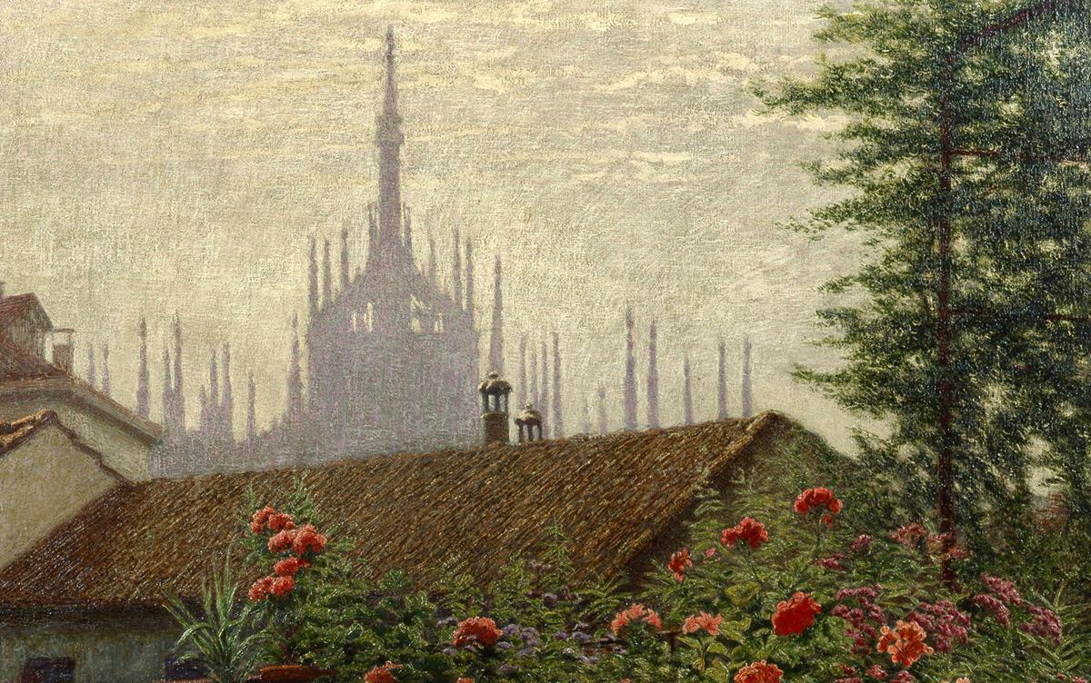 Angelo Morbelli, Le guglie del Duomo (1915-1917; olio su tela, 50 x 80 cm, Milano, Palazzo Morando – costume, moda, immagine)
