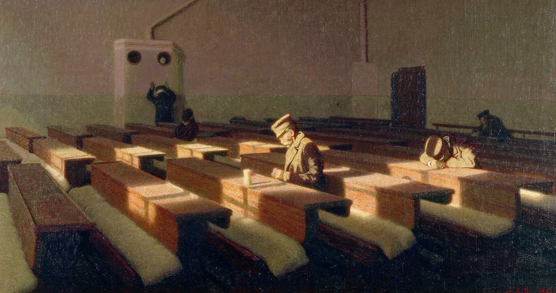 Angelo Morbelli, Il Natale dei rimasti (1903; olio su tela, 61 x 110 cm; Venezia, Fondazione Musei Civici di Venezia, Galleria Internazionale d'Arte Moderna di Ca' Pesaro)