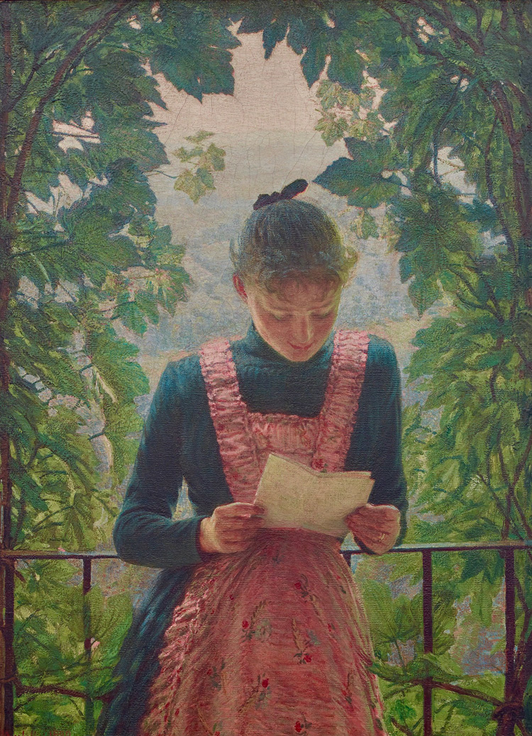 Angelo Morbelli, La prima lettera (1890-1891; olio su tela, 106,5 x 78,5 cm; Milano, collezione privata)