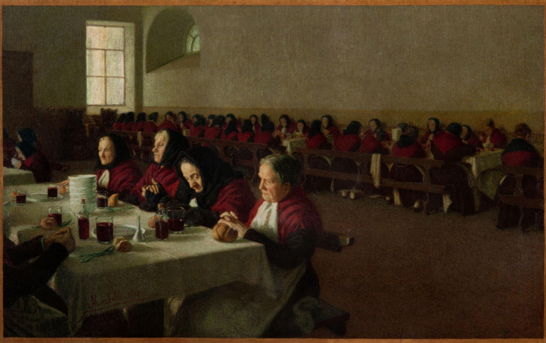 """Angelo Morbelli, Mi ricordo quand'ero fanciulla (Entremets) (1903; olio su tela, 71 x 112 cm; Tortona, """"Il Divisionismo"""" Pinacoteca Fondazione C. R. Tortona)"""
