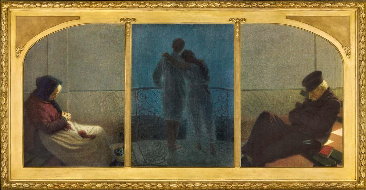 Angelo Morbelli, Sogno e realtà (Trittico della vita) (1905; olio su tela, tre pannelli, 112 x 80 cm, 112 x 79 cm, 112 x 80 cm; Milano, collezione Fondazione Cariplo)