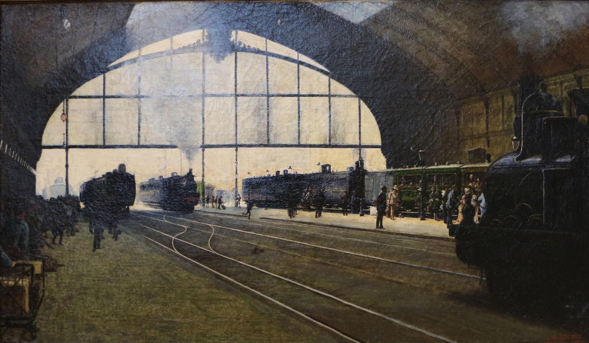 Angelo Morbelli, La stazione centrale di Milano nel 1889 (1889; olio su tela, Milano, Galleria d'Arte Moderna)