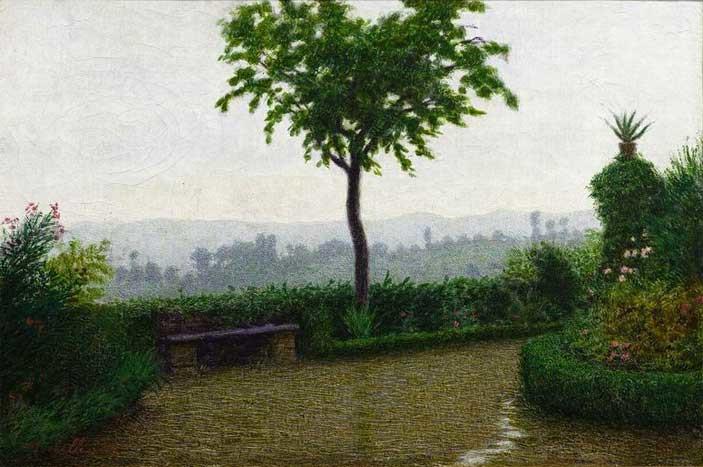 Angelo Morbelli, Tempo di pioggia (dopo la pioggia) (1916; olio su tela, 33,5 x 50 cm; Milano, Galleria d'Arte Moderna)