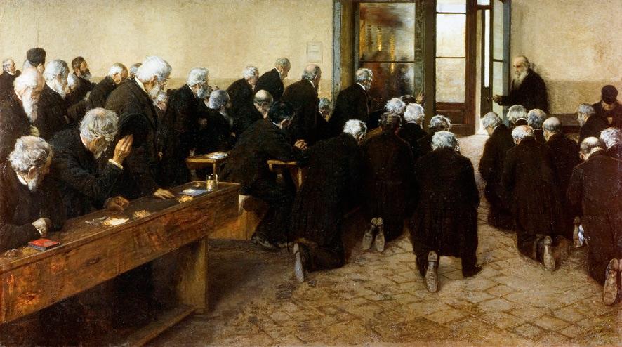 Angelo Morbelli, Il Viatico (1884; olio su tela, 112 x 200 cm; Roma, Galleria Nazionale d'Arte Moderna e Contemporanea)