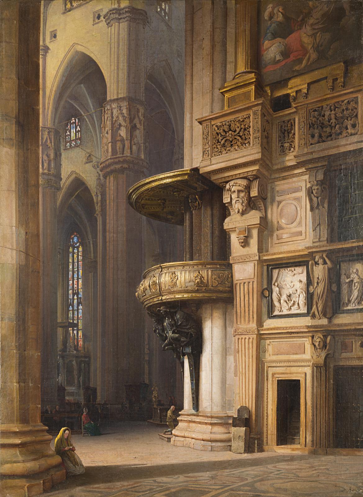 Luigi Bisi, Interno del Duomo di Milano (1859; olio su tela, 109,9 x 83,2 cm; Milano, Galleria d'Arte Moderna)