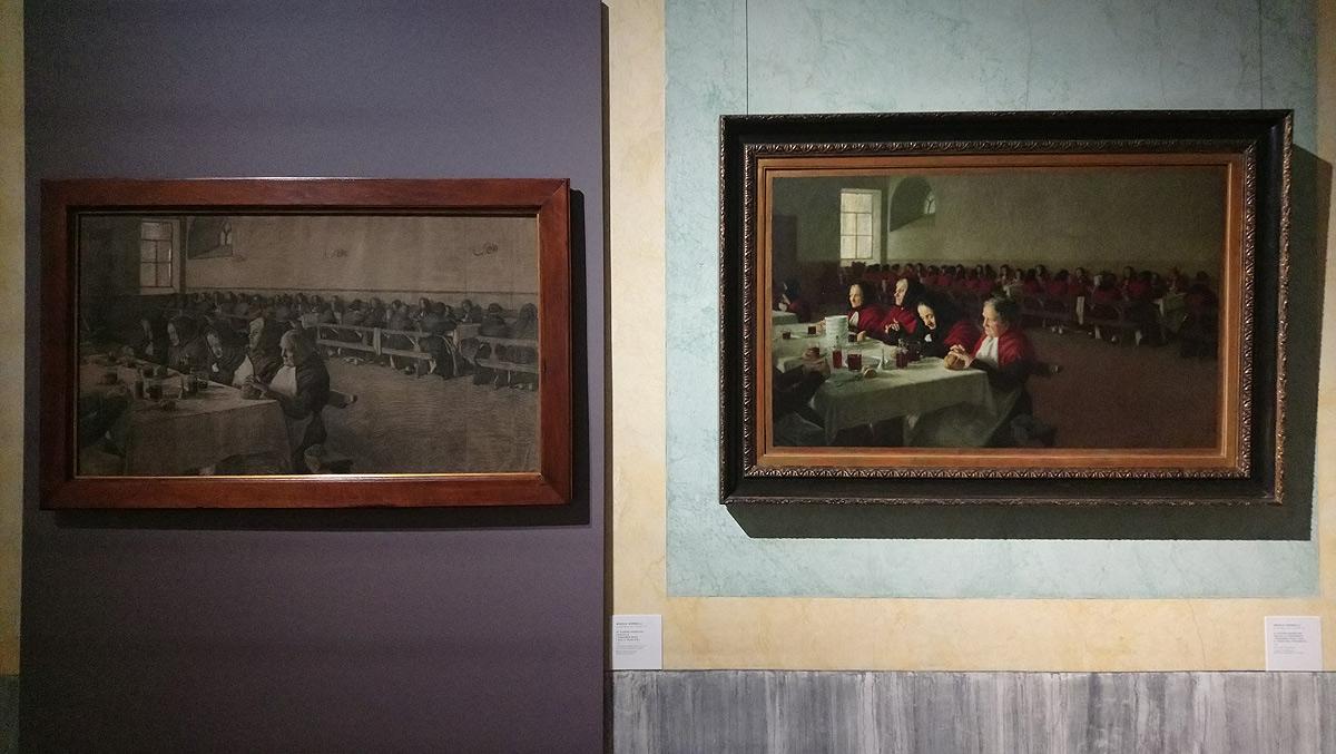 Angelo Morbelli, Mi ricordo quand'ero fanciulla, confronto tra il dipinto e lo studio