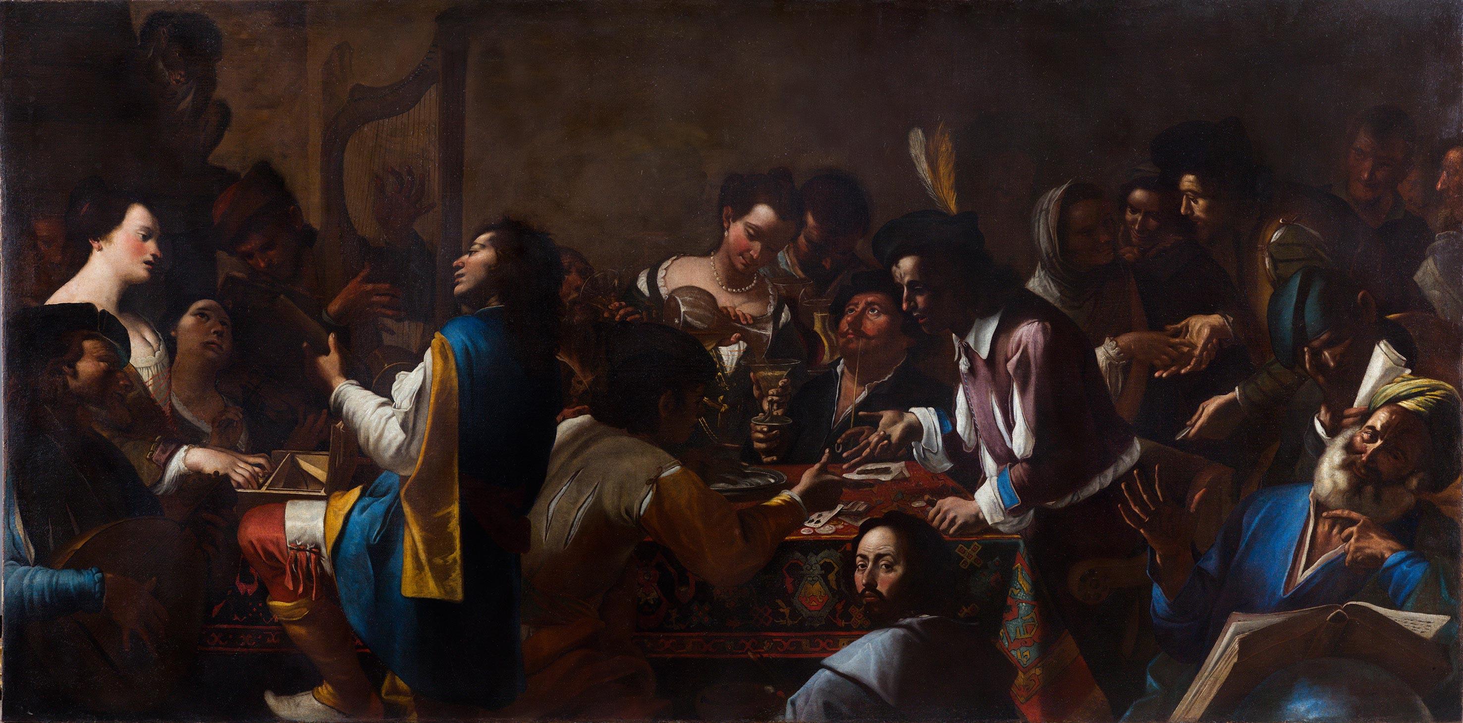 Gregorio e Mattia Preti, Allegoria dei cinque sensi (1642-1646 circa; olio su tela, 174,5 x 363 cm; Roma, Gallerie Nazionali di Arte Antica, Palazzo Barberini)