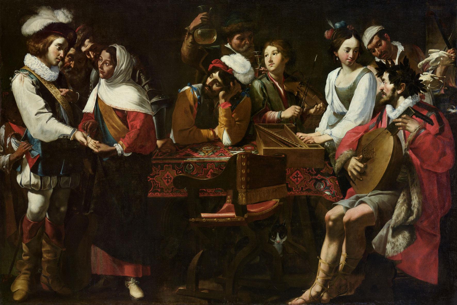 Gregorio e Mattia Preti, Concerto con scena di buona ventura (1630-1635; olio su tela, 195 x 285 cm; Torino, Pinacoteca dell'Accademia Albertina)