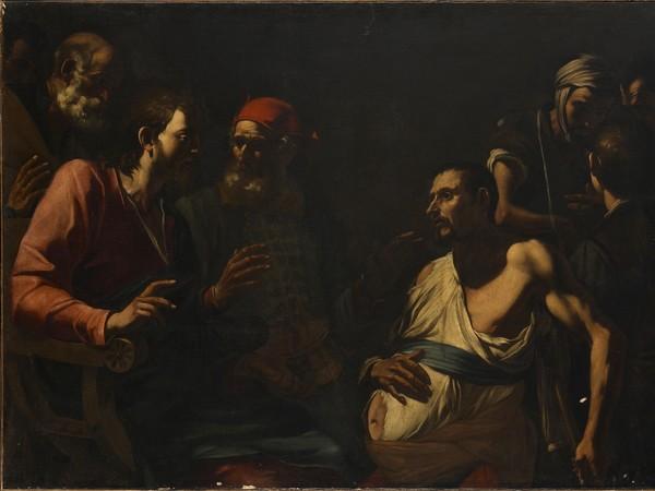Gregorio e Mattia Preti, Cristo guarisce l'idropico (1635 circa; olio su tela, 122 x 180 cm; Milano, collezione privata, courtesy Matteo Lampertico)
