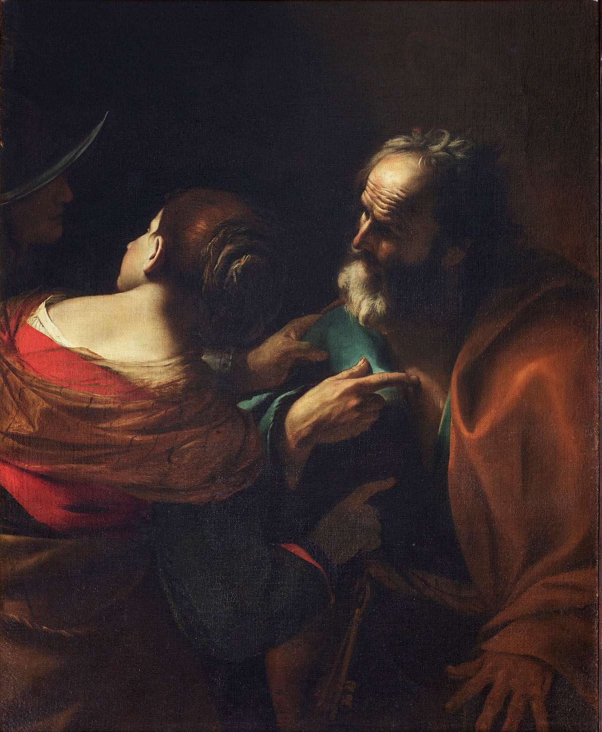Mattia Preti, Negazione di Pietro (1635 circa; olio su tela, 126 x 97 cm; Roma, Gallerie Nazionale d'Arte Antica, Palazzo Barberini)