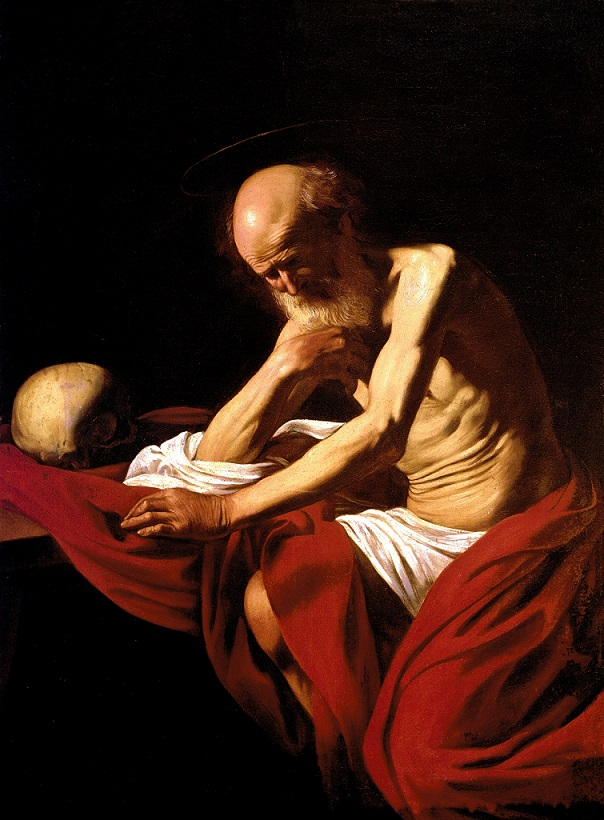 Caravaggio, San Girolamo (1605; olio su tela, 118 x 81 cm; Montserrat, Museo del Monastero di Santa Maria)