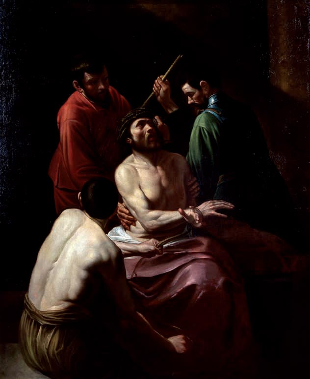Cesare Corte, Incoronazione di spine, copia da Caravaggio (inizi del XVII secolo; olio su tela, 203 x 166 cm; Genova, San Bartolomeo della Certosa)