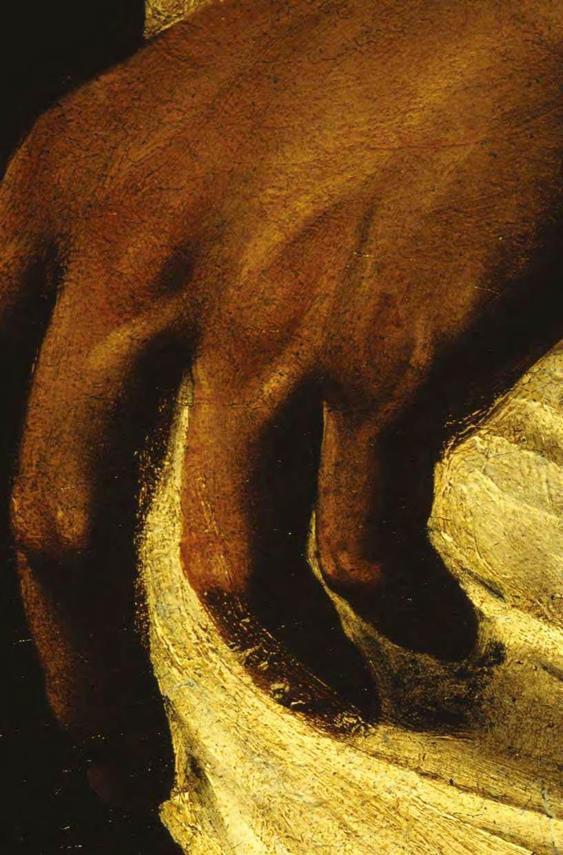 Dettaglio del dipinto con la mano di Cristo