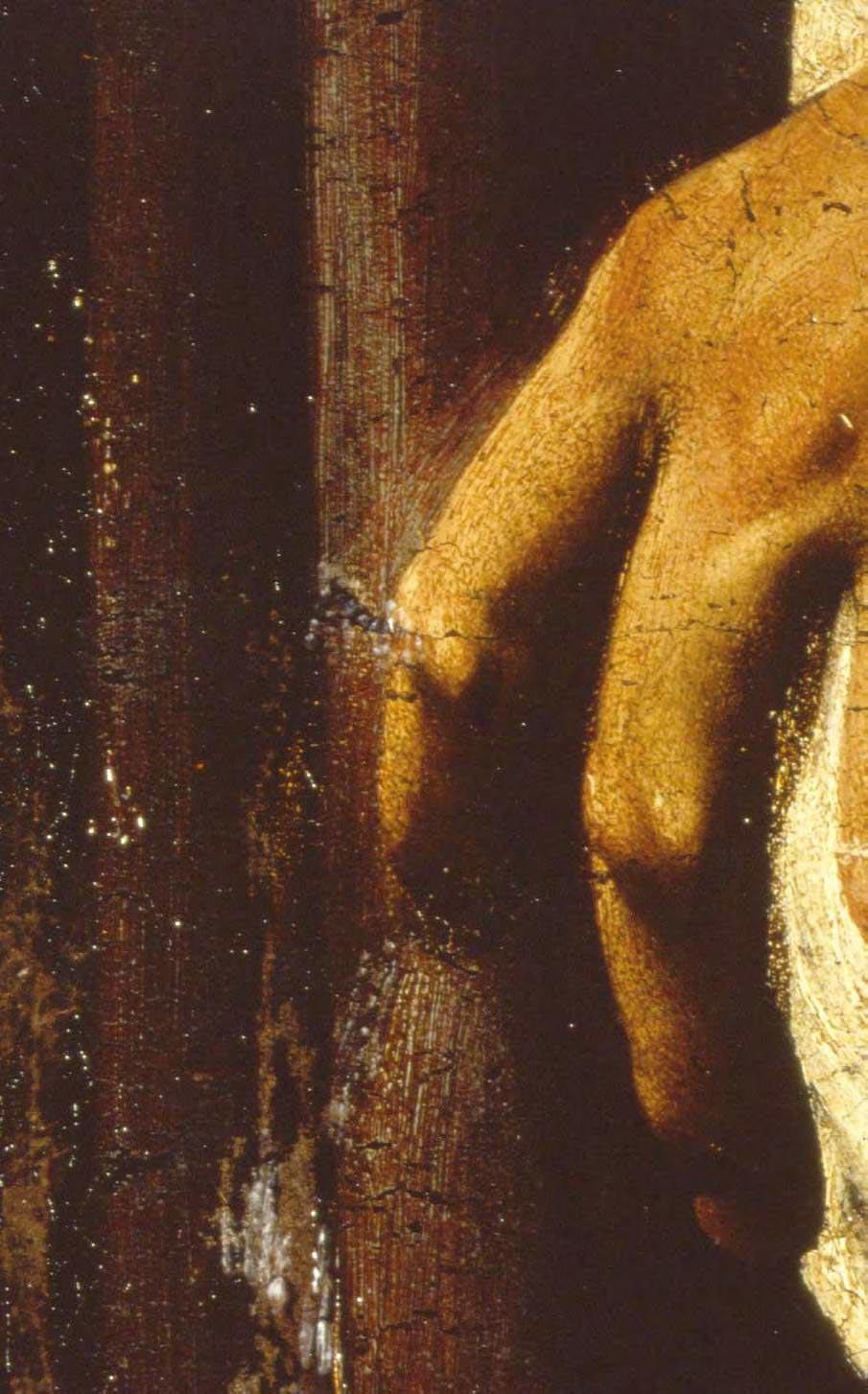 Dettaglio del dipinto con la mano sinistra del Cristo in cui sono visibili l'uso della preparazione a vista che riaffiora, l'uso di abbozzi a pennello, aggiustamenti posteriori