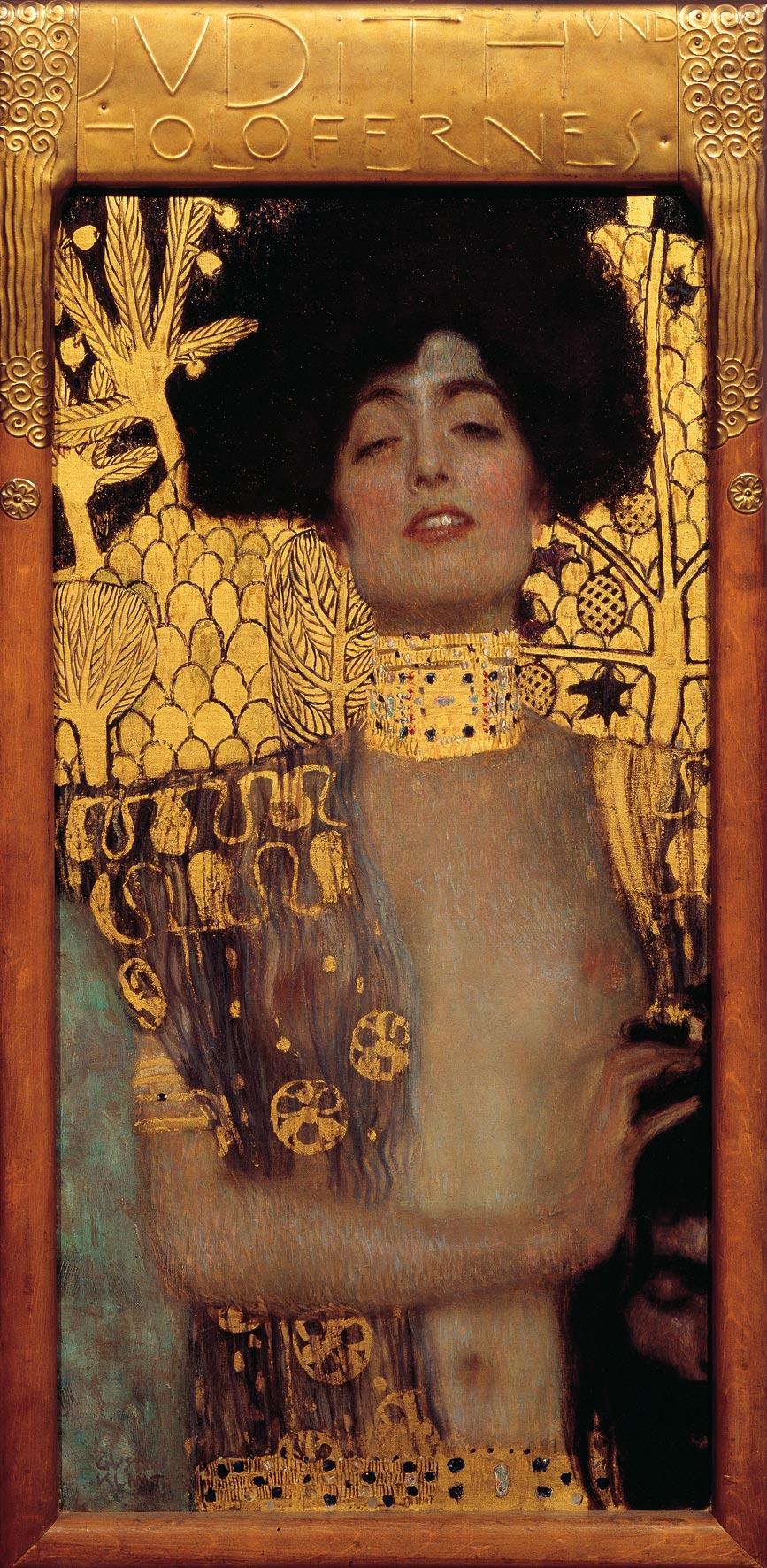 Gustav Klimt, Giuditta I (1901; olio su tela, 84 x 42 cm; Vienna, Österreichische Galerie Belvedere)