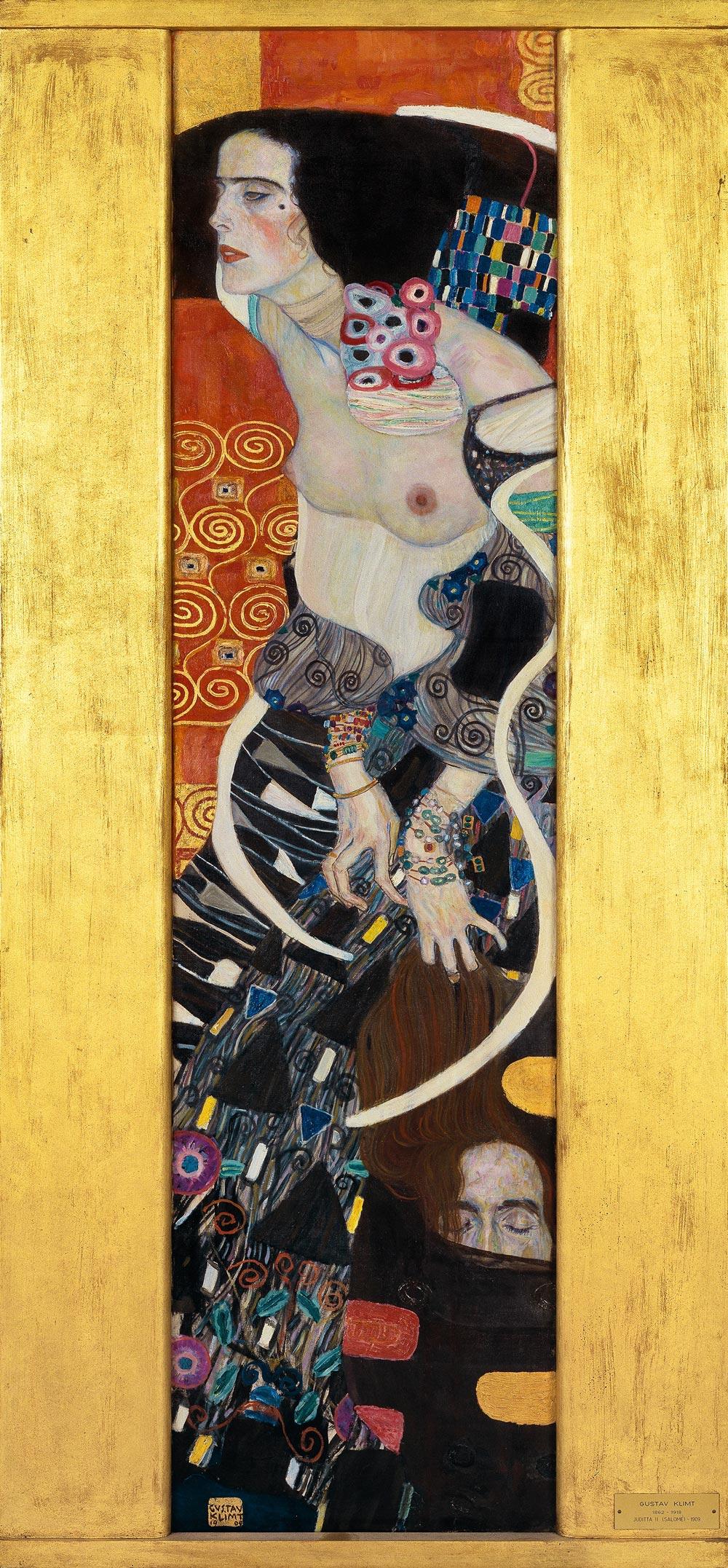 Gustav Klimt, Giuditta II (1909; olio su tela, 178 x 46 cm; Venezia, Galleria Internazionale d'Arte Moderna di Ca' Pesaro)