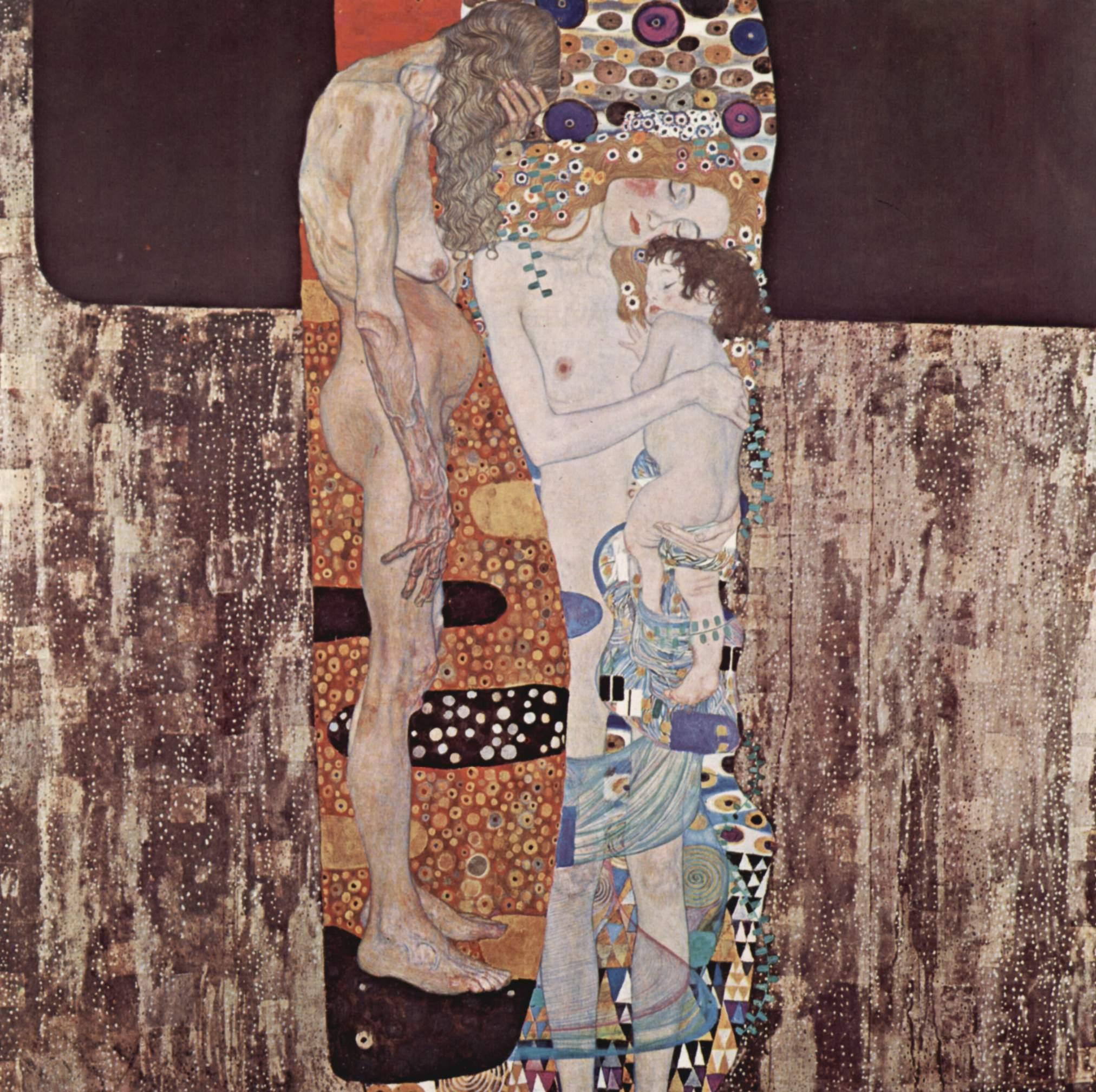 Gustav Klimt, Le tre età della donna (1905; olio su tela, 180 x 180 cm; Roma, Galleria Nazionale d'Arte Moderna e Contemporanea