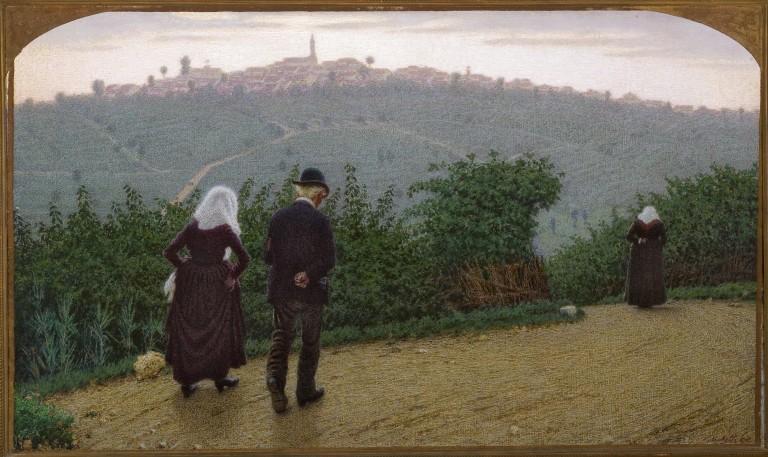 Angelo Morbelli, Alba domenicale (1915; olio su tela, 78 x 132 cm; Piacenza, Galleria d'Arte Moderna Ricci Oddi)