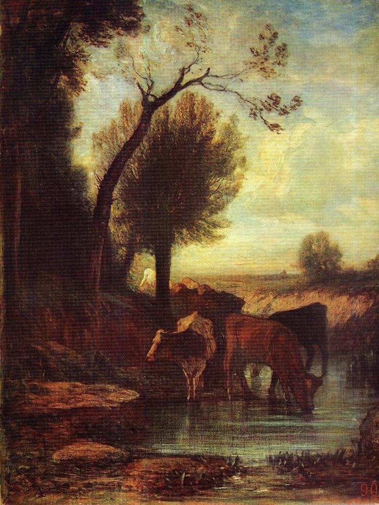 Antonio Fontanesi, L'abbeveratoio (1867 circa; olio su tela, 112 x 134 cm; Bologna, Pinacoteca Nazionale)