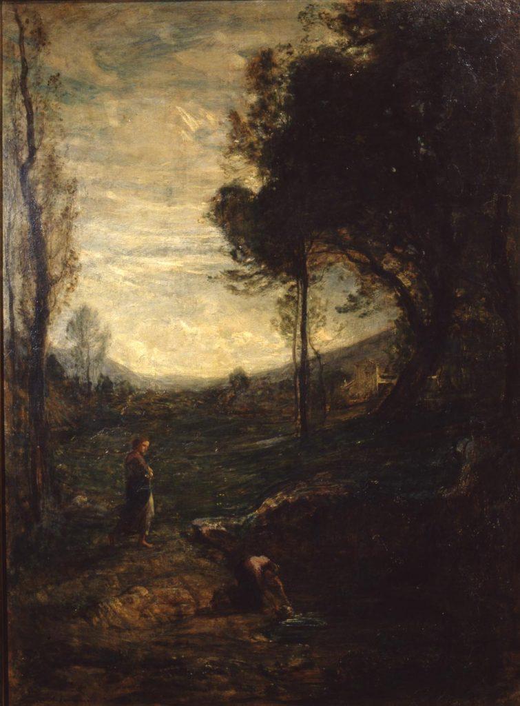 Antonio Fontanesi, Alla fontana (1867-1869; olio su tela, 103 x 78 cm; Roma, Galleria Nazionale d'Arte Moderna e Contemporanea)