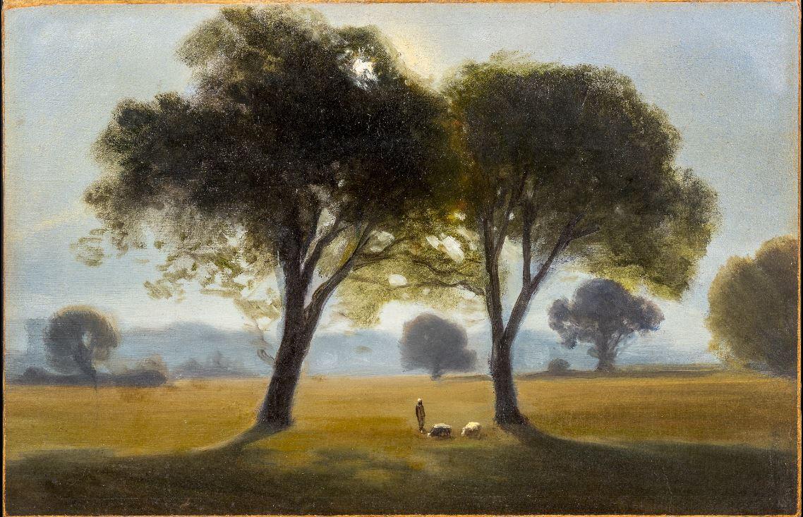Antonio Fontanesi, Il mattino (1855-1858; olio su carta applicata su cartoncino, 20,1 x 31,1 cm; Torino, GAM - Galleria Civica d'Arte Moderna e Contemporanea)