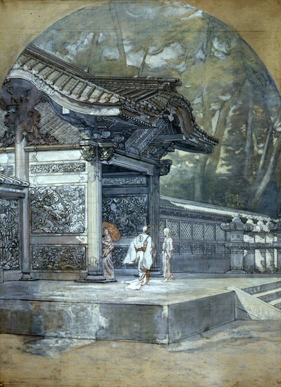 Antonio Fontanesi, Ingresso di un tempio in Giappone (1878-1880; preparazione a chiaroscuro su tela, 114 x 145 cm; Reggio Emilia, Musei Civici)