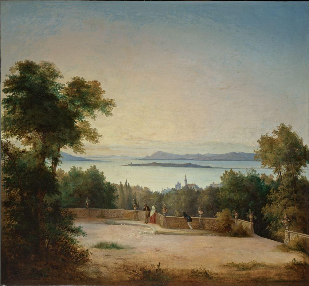 Antonio Fontanesi, Veduta del lago di Costanza con l'isola di Reichenau (1850 circa; olio su tela, 179 x 192 cm; Reggio Emilia, Collezione Fondazione Manodori)