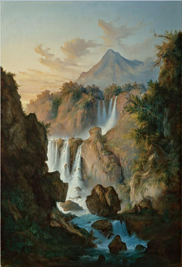 Antonio Fontanesi, La cascata (1845-1847 circa; olio su tela, 180 x 118 cm; Reggio Emilia, Collezione Fondazione Manodori)