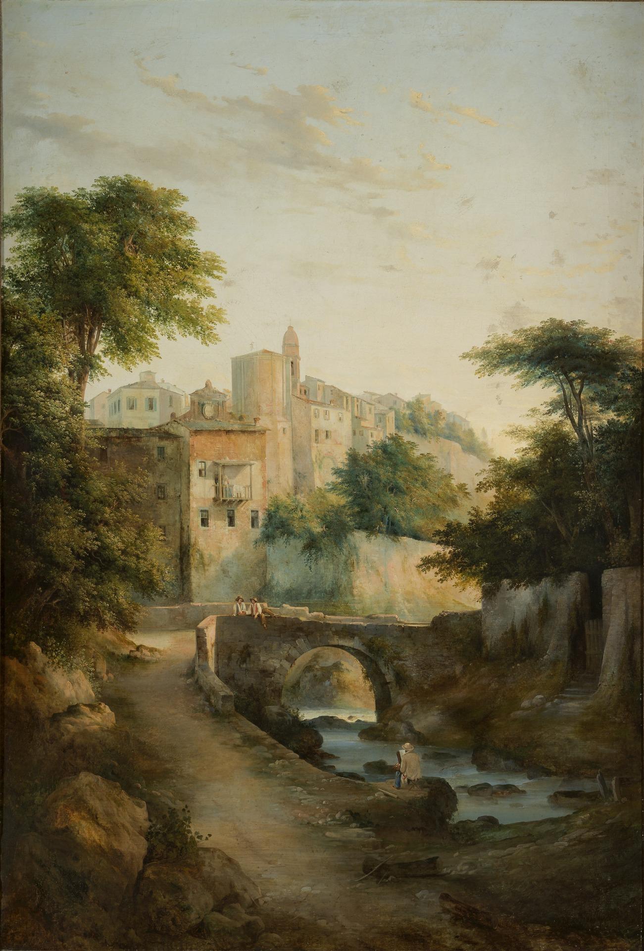 Antonio Fontanesi, Ponte sul torrente (1845-1847 circa; olio su tela, 180 x 118 cm; Reggio Emilia, Collezione Fondazione Manodori)