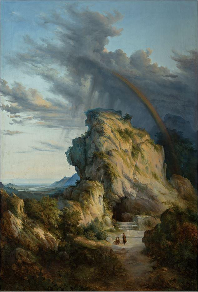 Antonio Fontanesi, Eremo dopo il temporale (1845-1847 circa; olio su tela, 180 x 118 cm; Reggio Emilia, Collezione Fondazione Manodori)