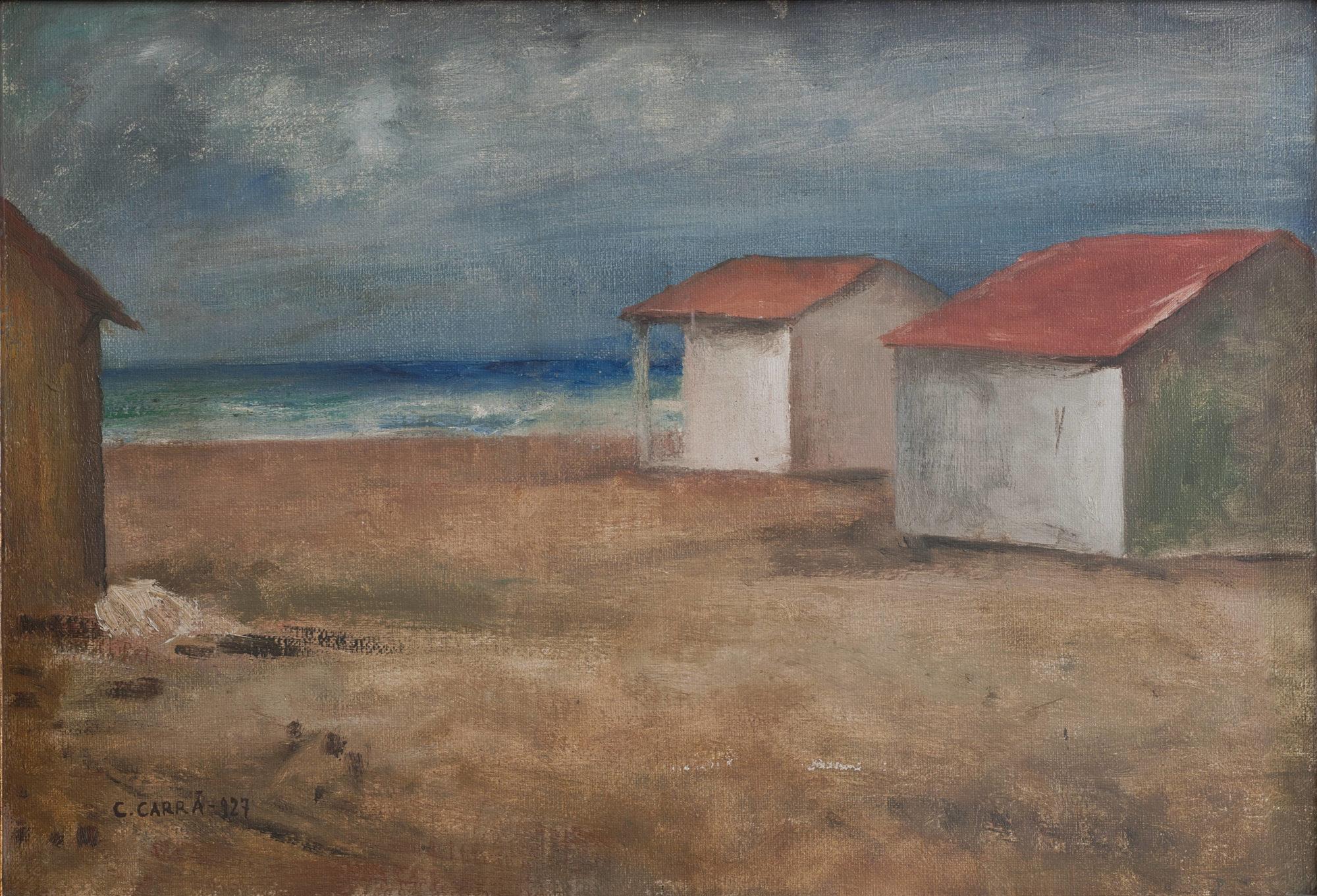 Carlo Carrà, Capanni sul mare (1927; olio su tela applicata su cartone, 44 x 63 cm; Torino, GAM - Galleria Civica d'Arte Moderna e Contemporanea)