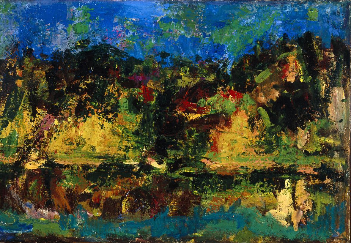 Ennio Morlotti, Paesaggio sul fiume (Adda) (1955; olio su tela, 55 x 80 cm; Parma, Collezione Barilla di Arte Moderna)