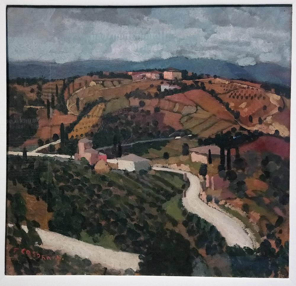 Felice Casorati, Paesaggio toscano (1929 circa; olio su legno, 45 x 65,5 cm; Torino, GAM - Galleria Civica d'Arte Moderna e Contemporanea, Fondazione Guido ed Ettore De Fornaris)