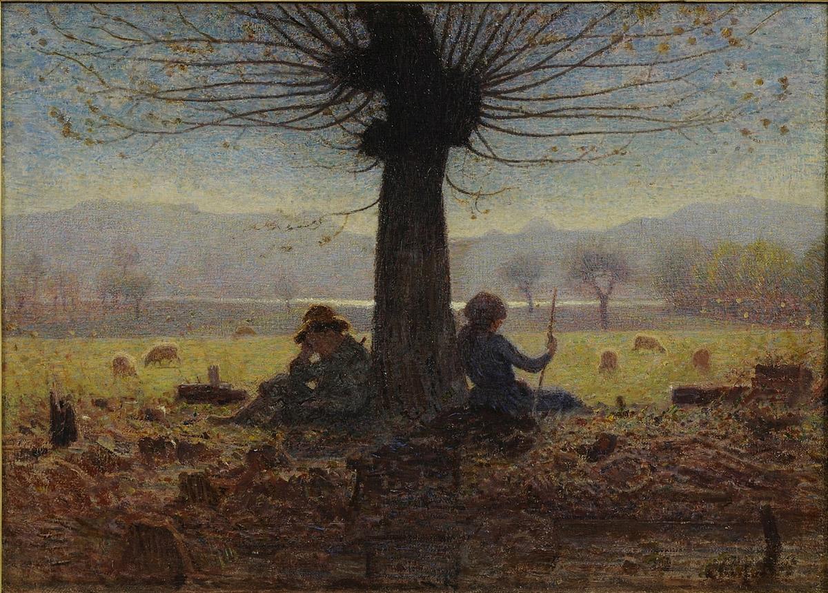 Giuseppe Pellizza da Volpedo, I due pastori nel prato di Mongini (Novembre) (1901; olio su tela, 45,3 x 62,2 cm; Torino, GAM - Galleria Civica d'Arte Moderna e Contemporanea)