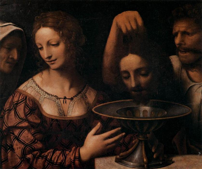 Bernardino Luini, Salomè con una serva e il boia che presenta la testa del Battista (1525 circa; olio su tavola, 51 x 58 cm; Firenze, Galleria degli Uffizi)
