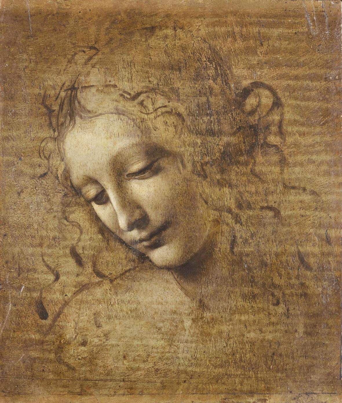 Leonardo da Vinci, Testa di donna detta La Scapiliata (1492 circa - 1501; biacca con pigmenti di ferro e cinabro, su preparazione di biacca contenente pigmenti a base di rame, giallo di piombo e stagno su tavola di noce, 24,7 x 21 cm; Parma, Complesso Monumentale della Pilotta, Galleria Nazionale)