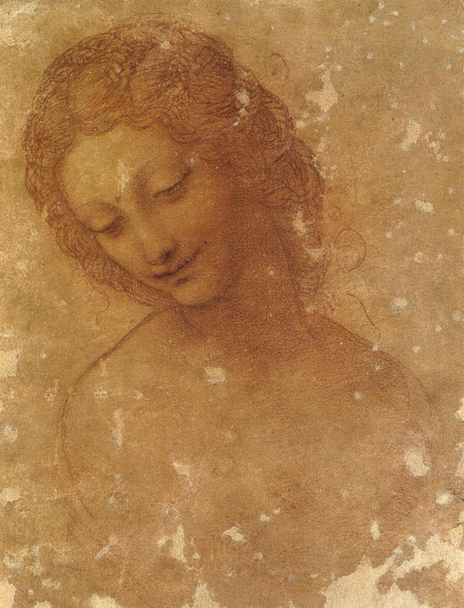 Leonardo da Vinci (con riprese successive?), Studio per la testa di Leda (1504-1506 circa; pietra naturale su carta preparata rosso-rosata, 200 x 157 mm; Milano, Castello Sforzesco, Civico Gabinetto dei Disegni)