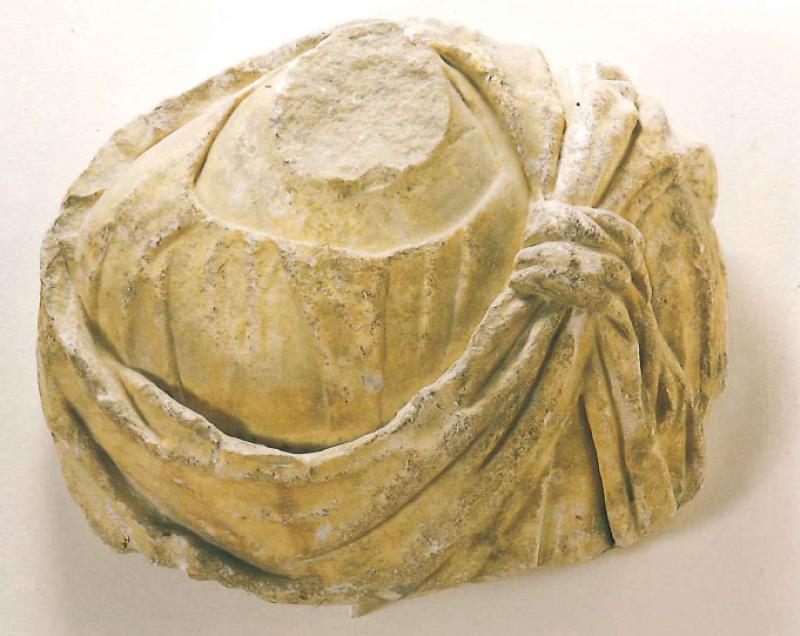 Ignoto scultore, Busto d'imperatore (XIII secolo; marmo, 40 x 48 x 16 cm; Bari, Pinacoteca Corrado Giaquinto)