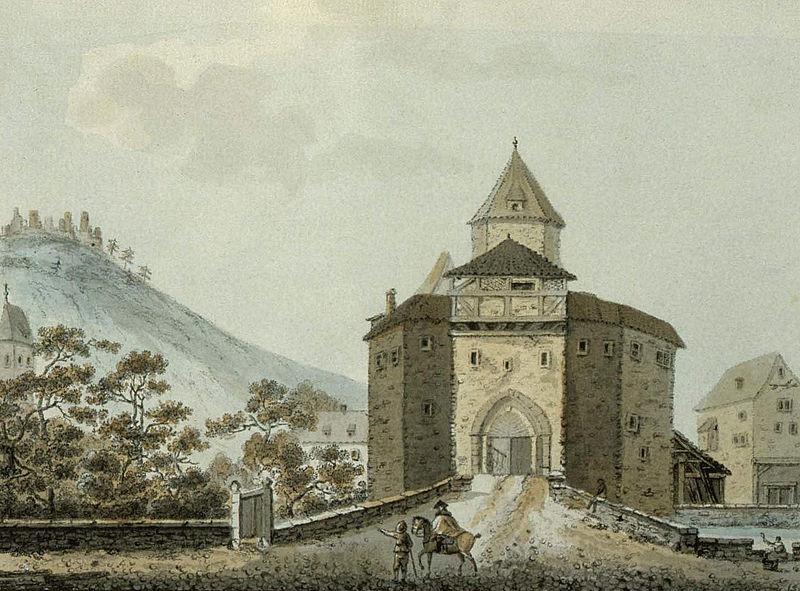 François Walter, Il castello di Eguisheim, da Les images d'Alsace (1785; Strasburgo, Bibliothèque Nationale et Universitaire)