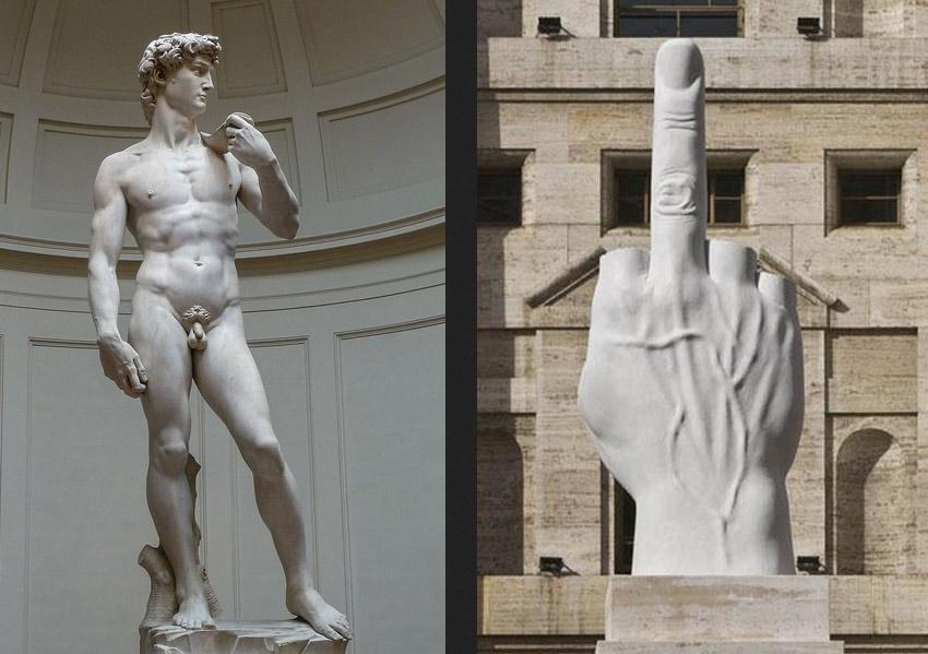 Il David di Michelangelo Buonarroti e L.O.V.E. di Maurizio Cattelan, due opere di due grandi artisti contemporanei nelle loro epoche, interamente prodotte in Toscana