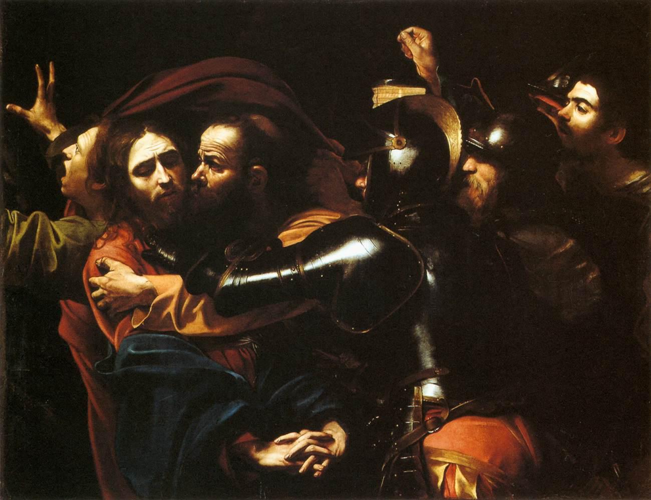Caravaggio, Cattura di Cristo (1602; olio su tela, 133,5 x 169,5 cm; Dublino, National Gallery of Ireland)