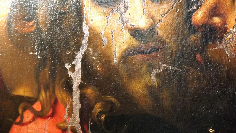 Cattura di Cristo di Odessa, dettaglio del bacio di Giuda (durante il restauro). Ph. Credit Nataliia Chechykova