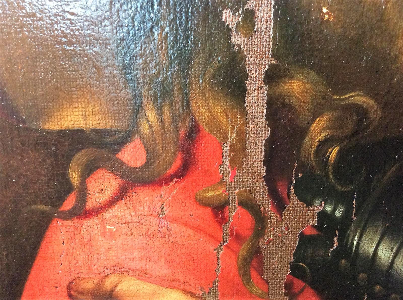 Cattura di Cristo di Odessa, dettaglio con la ciocca di capelli di Cristo (durante il restauro). Ph. Credit Nataliia Chechykova