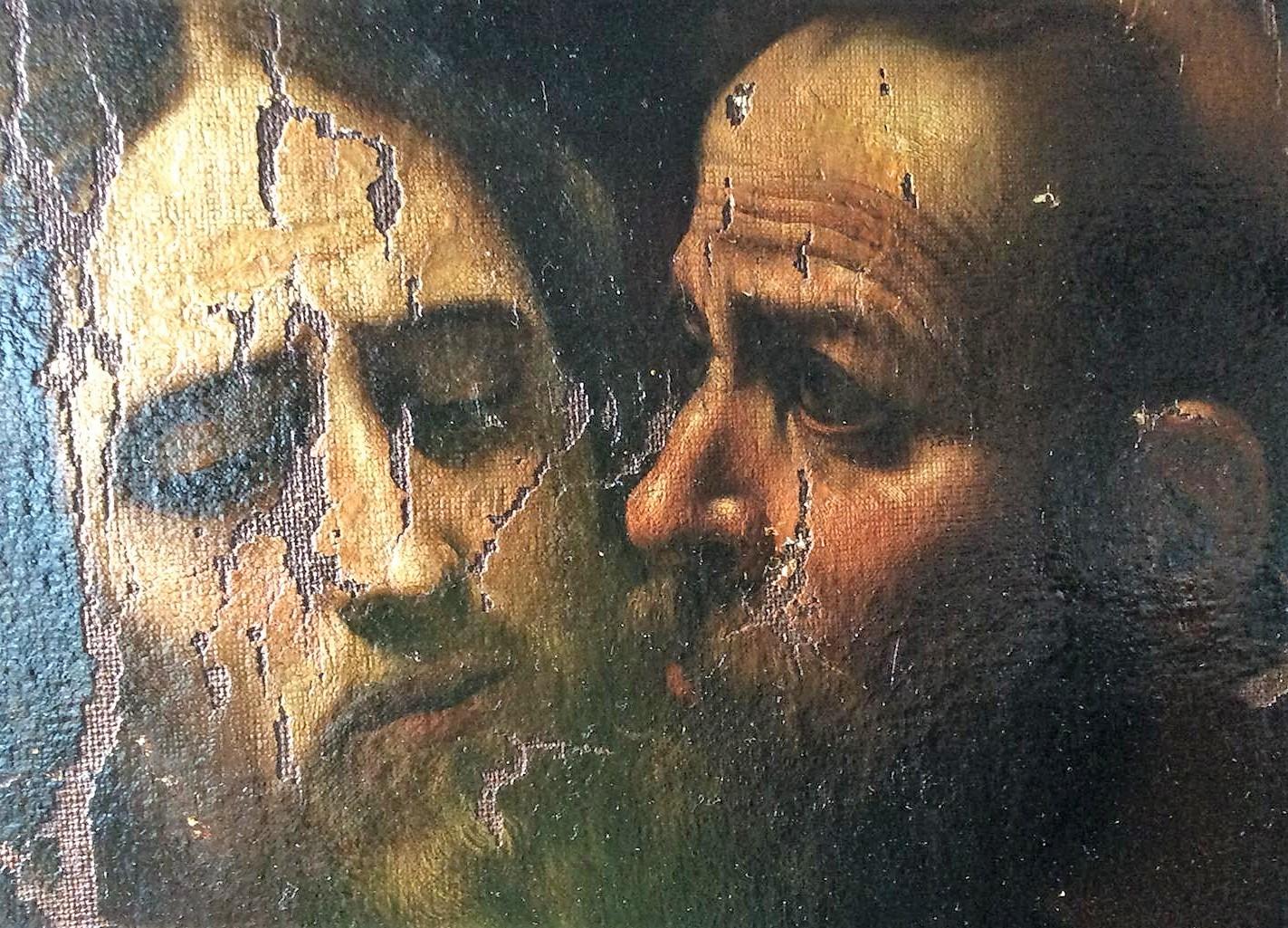 Cattura di Cristo di Odessa, dettaglio con i volti di Cristo e Giuda (durante il restauro). Ph. Credit Nataliia Chechykova